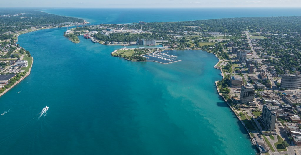 An aerial image of the St. Clair River where it meets Lake Huron